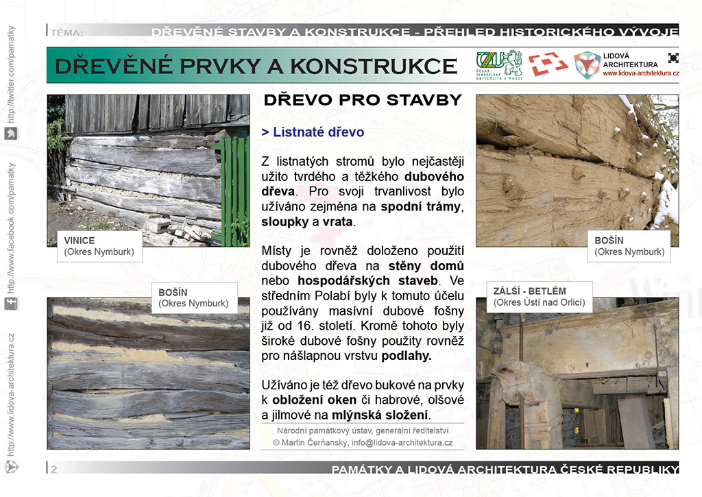 Listnaté dřevo pro stavební prvky a konstrukce