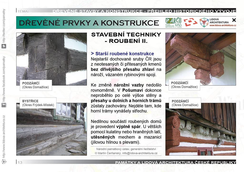 Roubené stavební konstrukce a technika staršího roubení