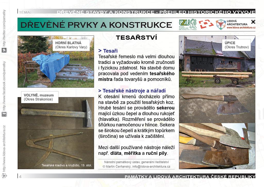 Tesařství a tesaři, tesařské nástroje pro práci se dřevem