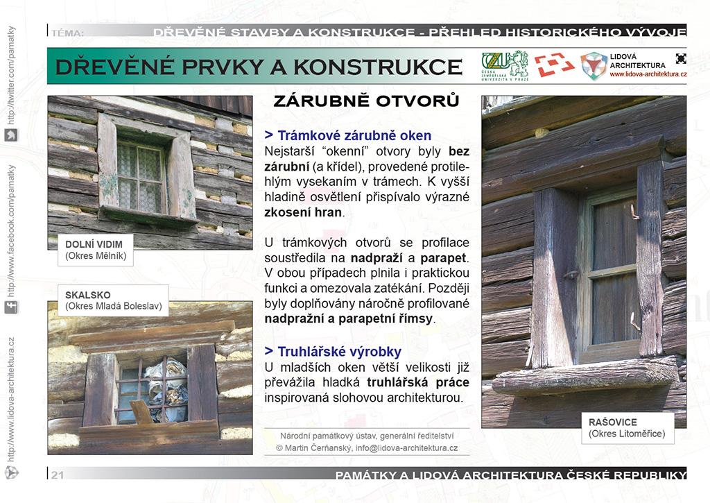 Trámkové zárubně oken a římsy roubených staveb